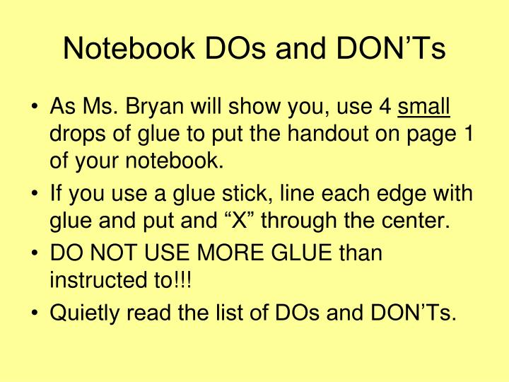 Notebook DOs and DON'Ts
