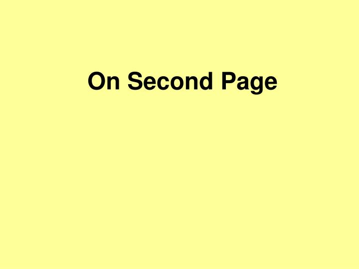 On Second Page