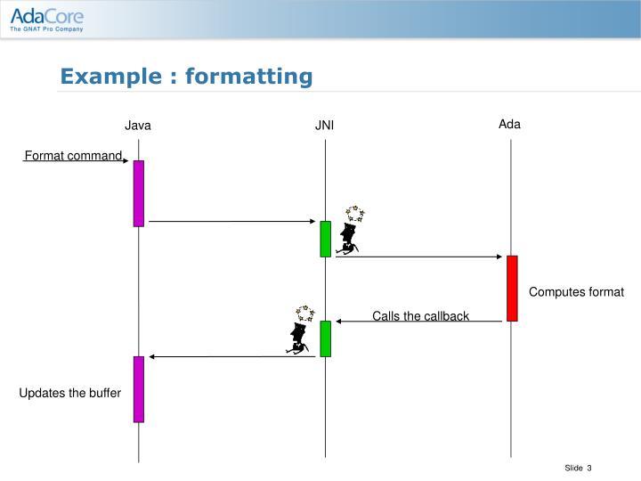 Example formatting
