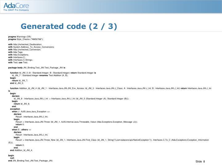 Generated code (2 / 3)