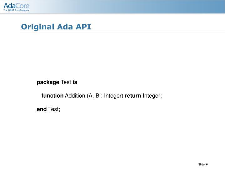 Original Ada API