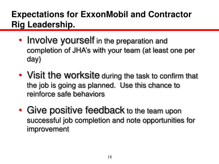 Expectations for ExxonMobil and Contractor Rig Leadership.