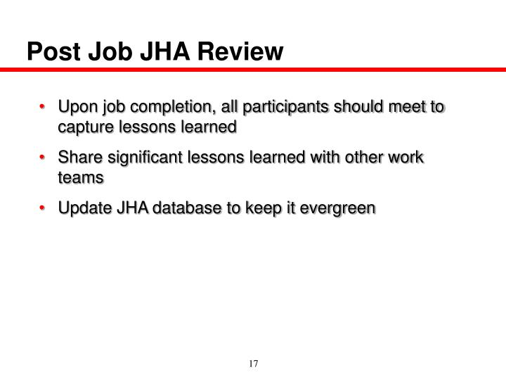 Post Job JHA Review