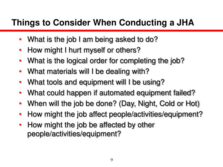 Things to Consider When Conducting a JHA