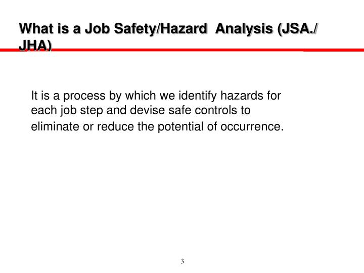What is a job safety hazard analysis jsa jha