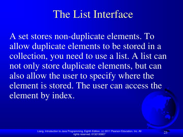 The List Interface