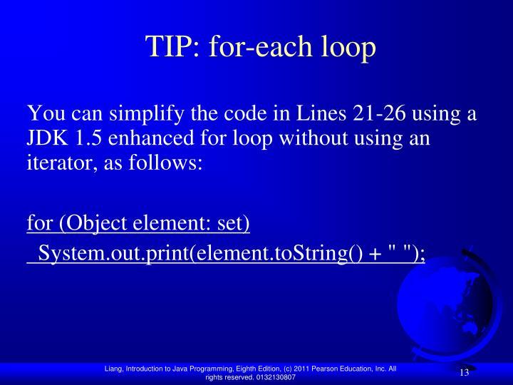TIP: for-each loop