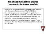 fox chapel area school district cross curricular career portfolio