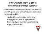 fox chapel school district freshman summer seminar