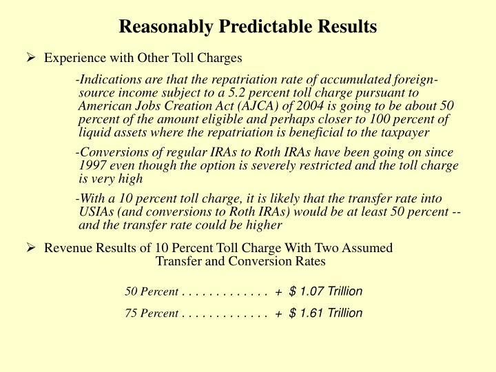 Reasonably Predictable Results