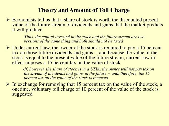 Theory and Amount of Toll Charge
