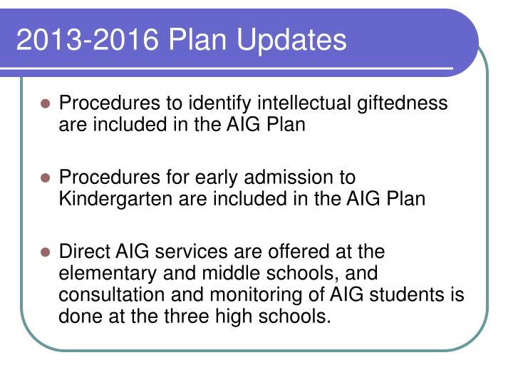 2013-2016 Plan Updates