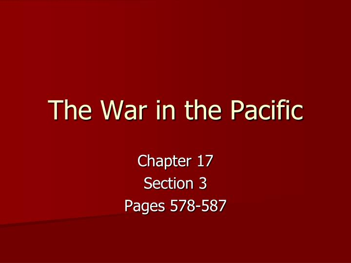 the war in the pacific n.