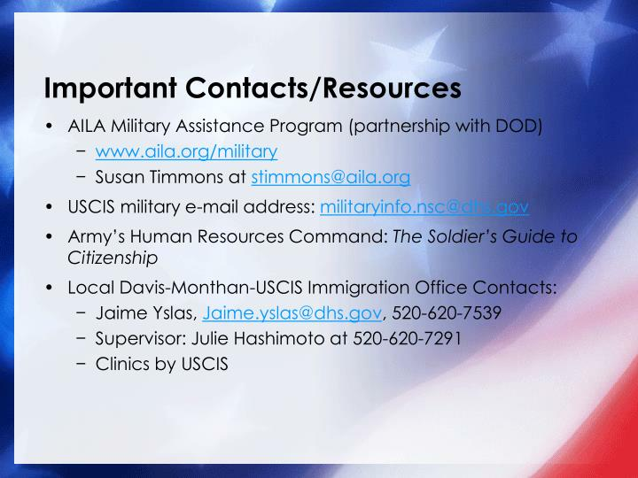 Important Contacts/Resources