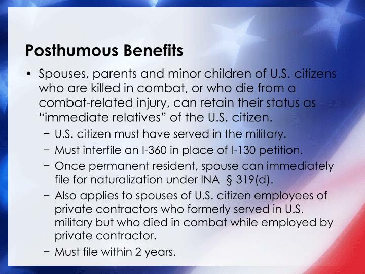 Posthumous Benefits