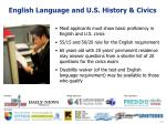 english language and u s history civics