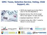 gmc taxes selective service voting child support etc
