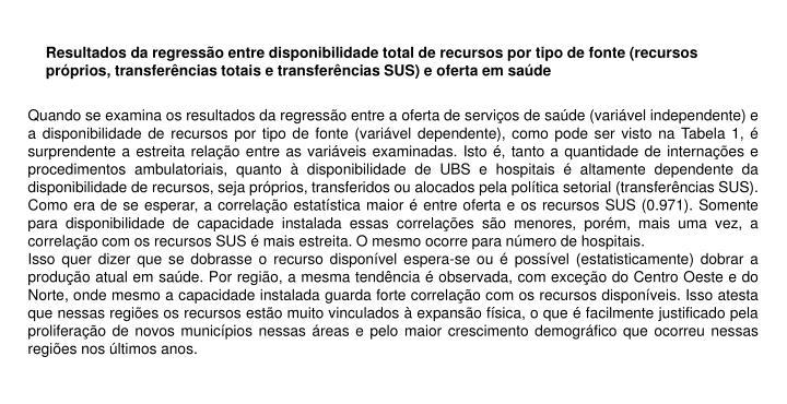 Resultados da regressão entre disponibilidade total de recursos por tipo de fonte (recursos próprios, transferências totais e transferências SUS) e oferta em saúde