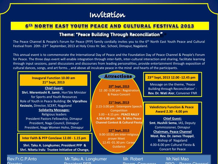 PPT - 6 th NORTH EAST YOUTH PEACE AND CULTURAL FESTIVAL 2013