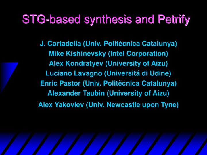 stg based synthesis and petrify n.