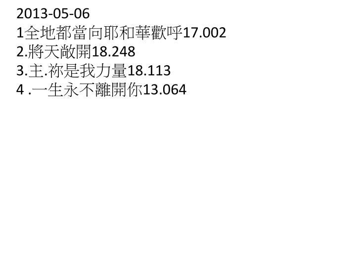 2013 05 06 1 17 002 2 18 248 3 18 113 4 13 064