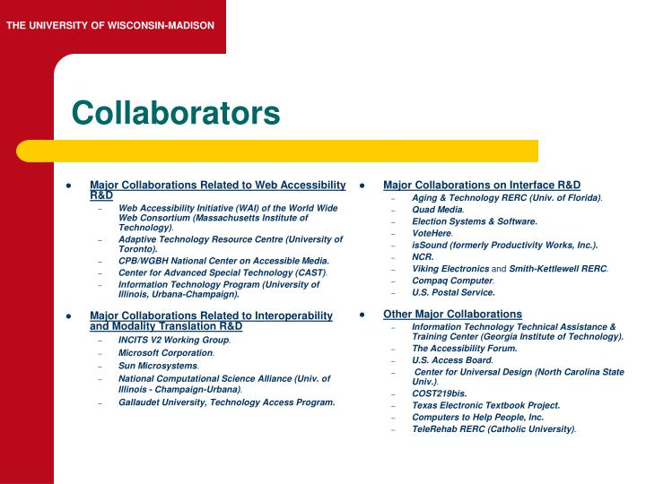 Major Collaborations Related to Web Accessibility R&D