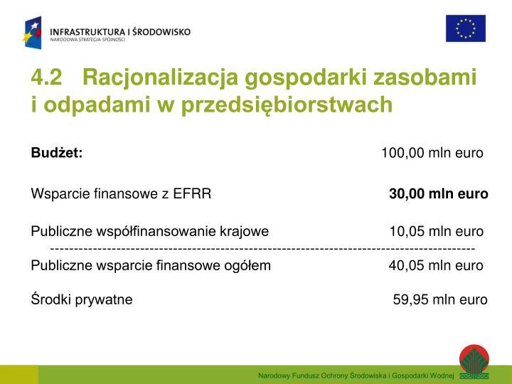 4.2 Racjonalizacja gospodarki zasobami  i odpadami w przedsiębiorstwach