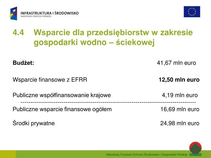 4.4 Wsparcie dla przedsiębiorstw w zakresie gospodarki wodno – ściekowej