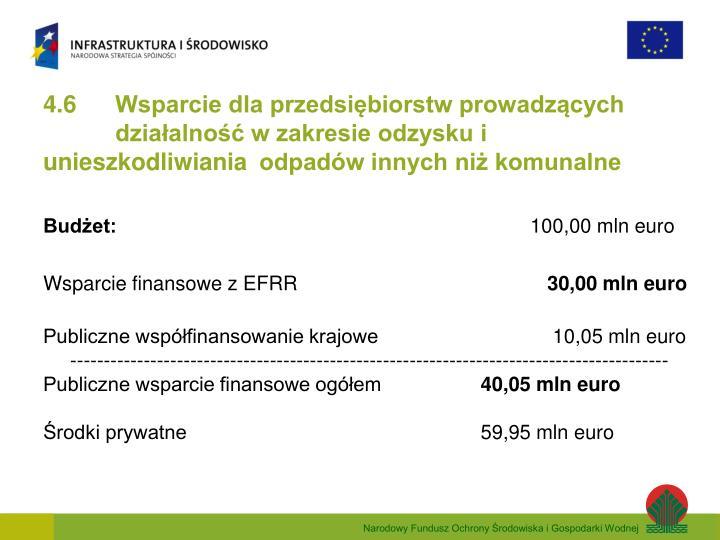 4.6 Wsparcie dla przedsiębiorstw prowadzących działalność w zakresie odzysku i unieszkodliwiania odpadów innych niż komunalne