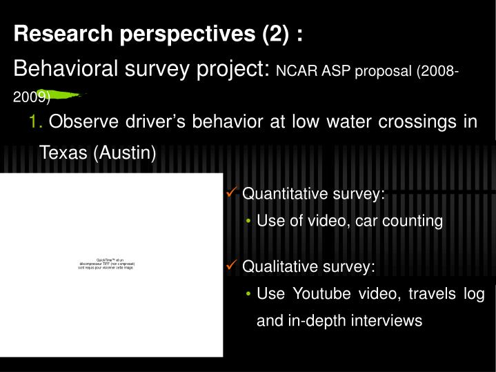 Research perspectives (2) :