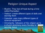 religion unique aspect