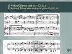 w a mozart sonate pour piano k 386 i f schubert danse allemande pour piano d 820 iii