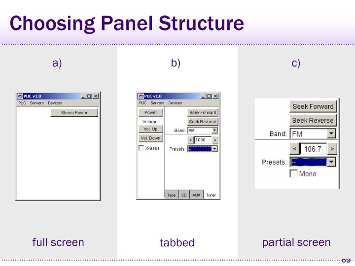 Choosing Panel Structure
