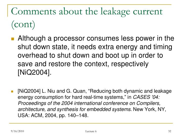 Comments about the leakage current (cont)