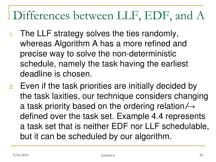 Differences between LLF, EDF, and A