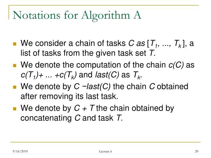 Notations for Algorithm A