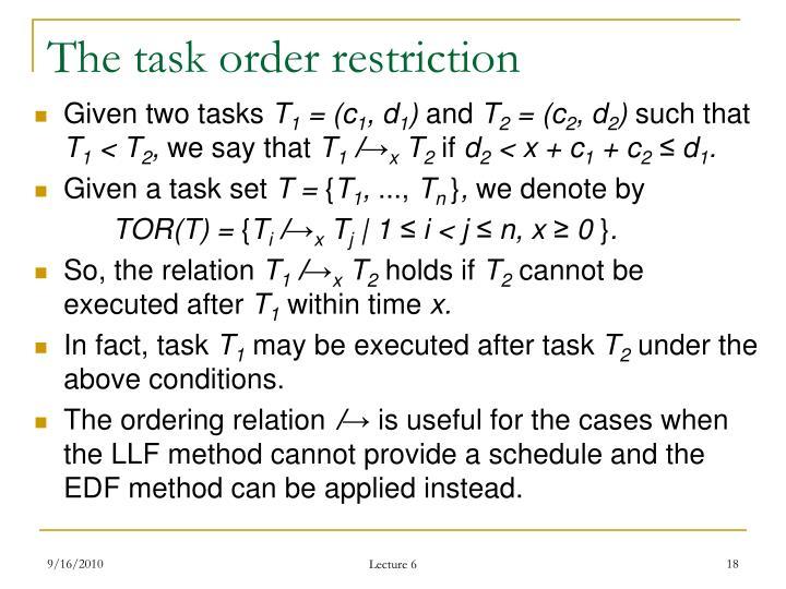 The task order restriction