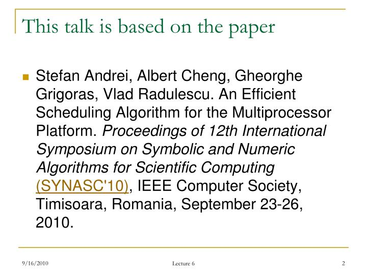 This talk is based on the paper