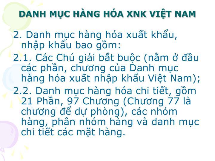 Danh m c h ng h a xnk vi t nam1