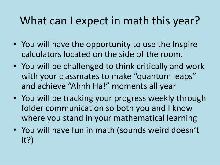 What can I expect in math this year?