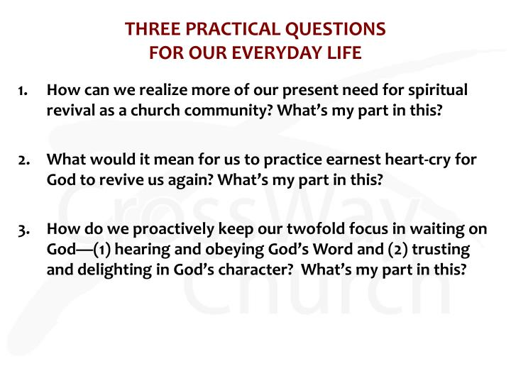 THREE PRACTICAL QUESTIONS