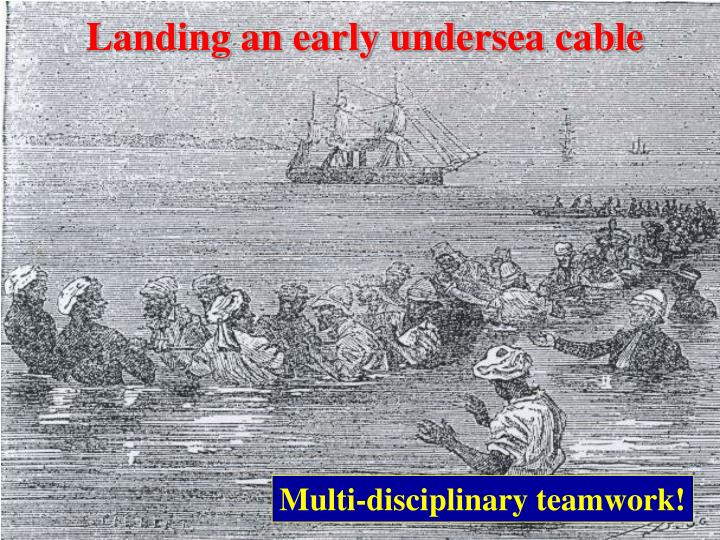 Landing an early undersea cable