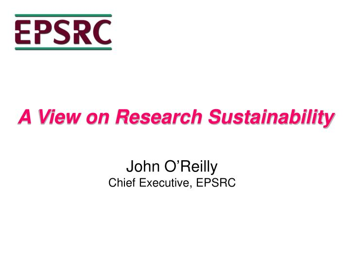 A View on Research Sustainability