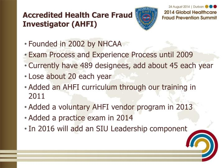 Accredited Health Care Fraud Investigator Ahfi