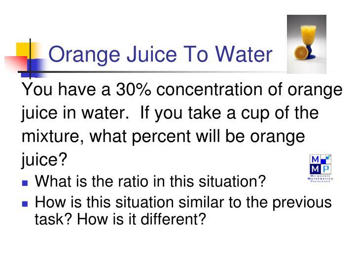Orange Juice To Water