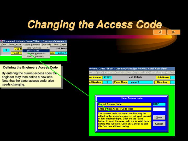 Changing the Access Code