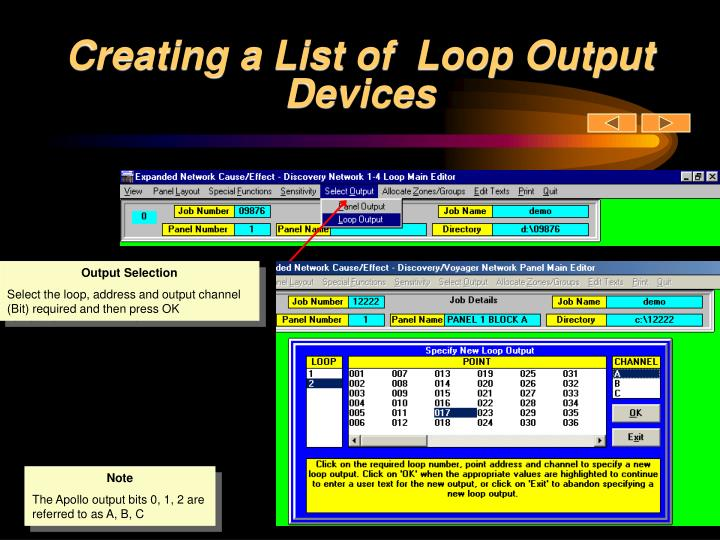 Creating a List of  Loop Output Devices