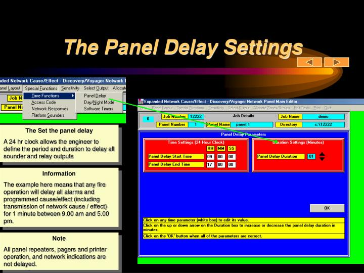 The Panel Delay Settings