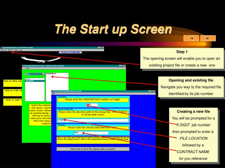 The Start up Screen
