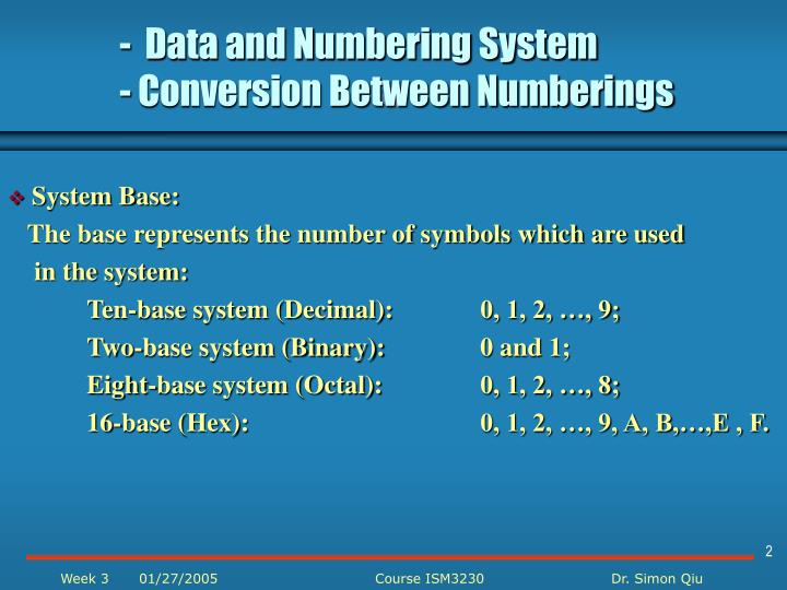 Data and numbering system conversion between numberings1